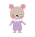 cute female bear with dress cartoon character vector image