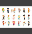 cute kids in various professions set smiling vector image vector image