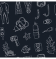 doodle seamless pattern diving tools vintage vector image vector image