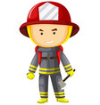 Fire fighter in protection suit vector image