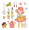 girl garden spring care accessories vector image