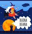 greeting card with text buona befana cute witch vector image vector image