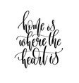 home is where the heart is - hand lettering vector image