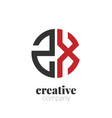 initial letter zx creative elegant circle logo vector image vector image