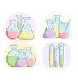 laboratory test tubes with colored liquid vector image vector image