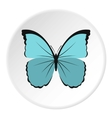 Light blue butterfly icon flat style vector image vector image