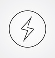 lightning outline symbol dark on white background vector image vector image