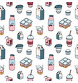modern seamless pattern with dairy products drawn vector image vector image