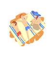 mother father and son sunbathing on beach happy vector image vector image