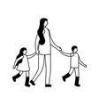 mother holding hands her son and daughter vector image