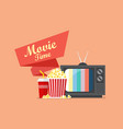 movie time popcorn snack and drink with retro vector image vector image