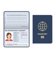 passport document id international paper passport vector image vector image