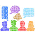 people head puzzle with speech bubbles vector image
