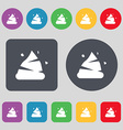Poo icon sign A set of 12 colored buttons Flat vector image