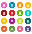 rocket icons set colorful circles vector image vector image