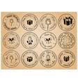 round postage stamps happy birthday - black vector image