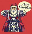 santa claus ride a motorcycle vector image vector image