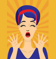 screaming vintage pin up girl vector image vector image