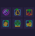 set neon icons fruits vector image vector image