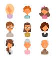 set of people portrait face icons web avatars flat vector image vector image