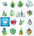 Set of various geometric abstract Christmas vector image