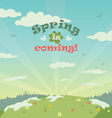 Sping is coming greeting card vector image vector image