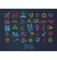 Travel flat neon icons vector image
