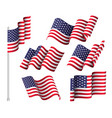 usa flags set six wavy flags united states vector image