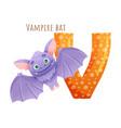 v letter and cute vampire bat baby animal zoo