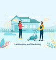 young couple doing landscaping and gardening vector image
