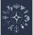zodiac signs circle over dark sky vector image vector image
