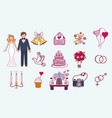bride and groom wedding couple marriage nuptial vector image