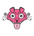 mad dog cartoon pink puppy funny vector image