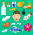 allergy allergen food and allergic milk egg vector image vector image