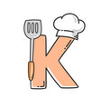 alphabet initial chef hat with spatula restaurant