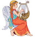 angel playing lyre vector image vector image