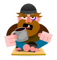 beggar sits on a cardboard with a mug and vector image vector image
