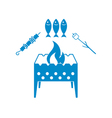 Brazier zephyr kebab and fish icon vector image