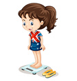 British girl weighing on scale vector image vector image
