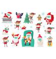 cartoon christmas characters wearing medical masks vector image vector image