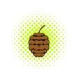 Cedar cone icon comics style vector image vector image