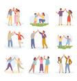 characters joyful give five set gesture vector image