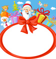 christmas bow frame wit santa claus and gifts vector image vector image