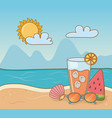 cocktail and vacations items on beach vector image vector image