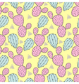Color cactus seamless pattern cacti Hand drawn vector image