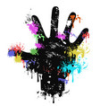 colorful grungy human palm dripping paint vector image