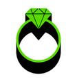 diamond sign green 3d icon vector image vector image