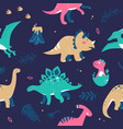 different dinosaurs - flat design style seamless vector image