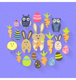 Easter eggs birds rabbits and carrots icons on a vector image vector image