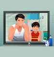 father teaching his son how to floss vector image vector image